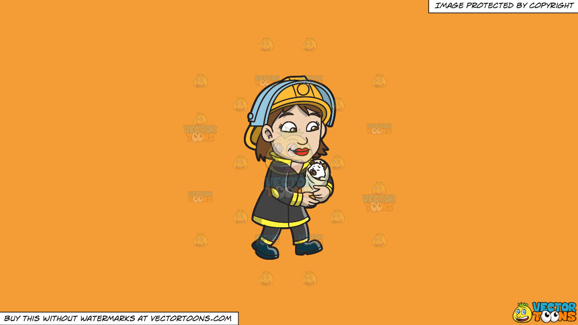 A Female Firefighter Carrying A Rescued Animal On A Solid Deep Saffron Gold F49d37 Background thumbnail
