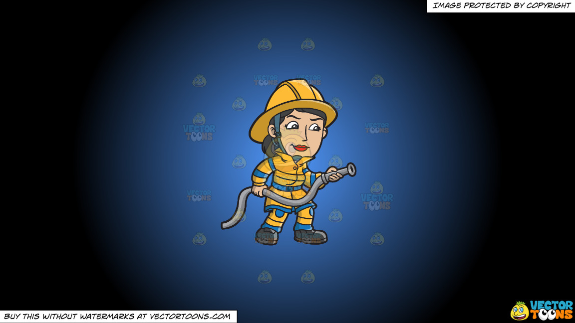A Female Firefighter Holding A Hose On A Blue And Black Gradient Background thumbnail