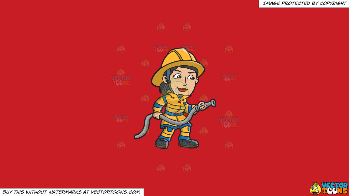 A Female Firefighter Holding A Hose On A Solid Fire Engine Red C81d25 Background thumbnail