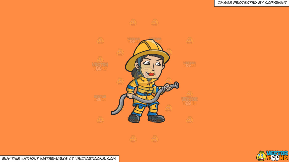 A Female Firefighter Holding A Hose On A Solid Mango Orange Ff8c42 Background thumbnail