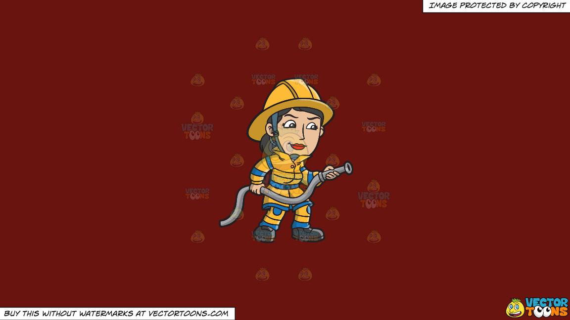 A Female Firefighter Holding A Hose On A Solid Maroon 69140e Background thumbnail