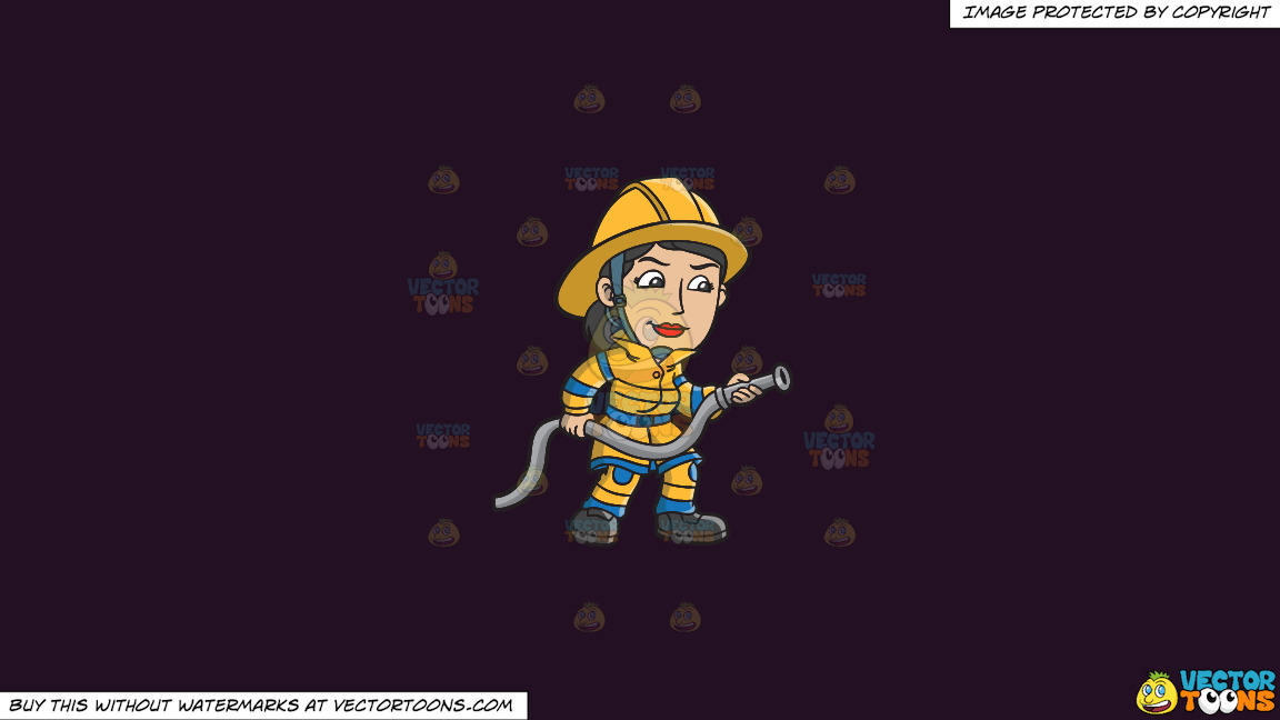 A Female Firefighter Holding A Hose On A Solid Purple Rasin 241023 Background thumbnail