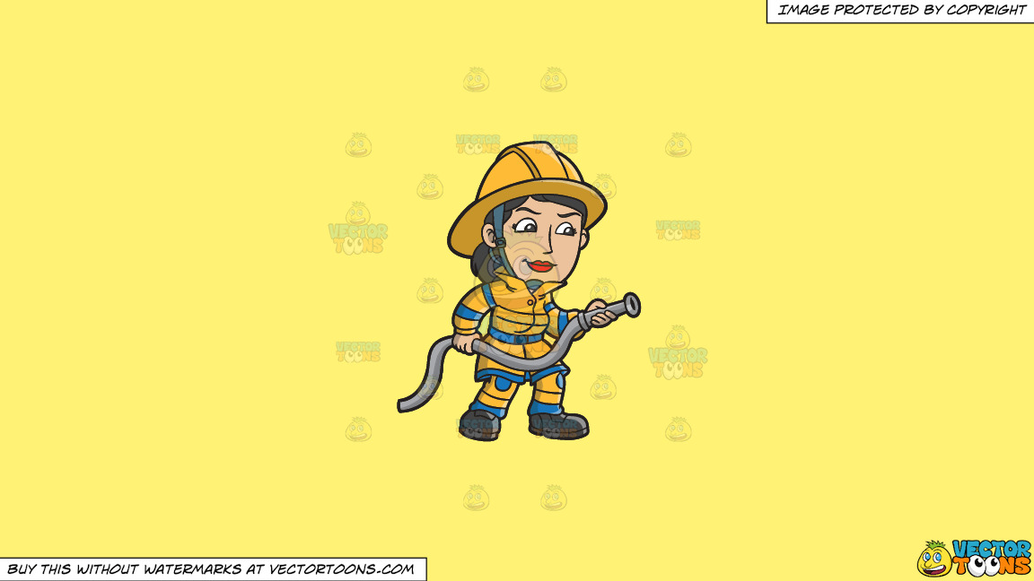 A Female Firefighter Holding A Hose On A Solid Sunny Yellow Fff275 Background thumbnail