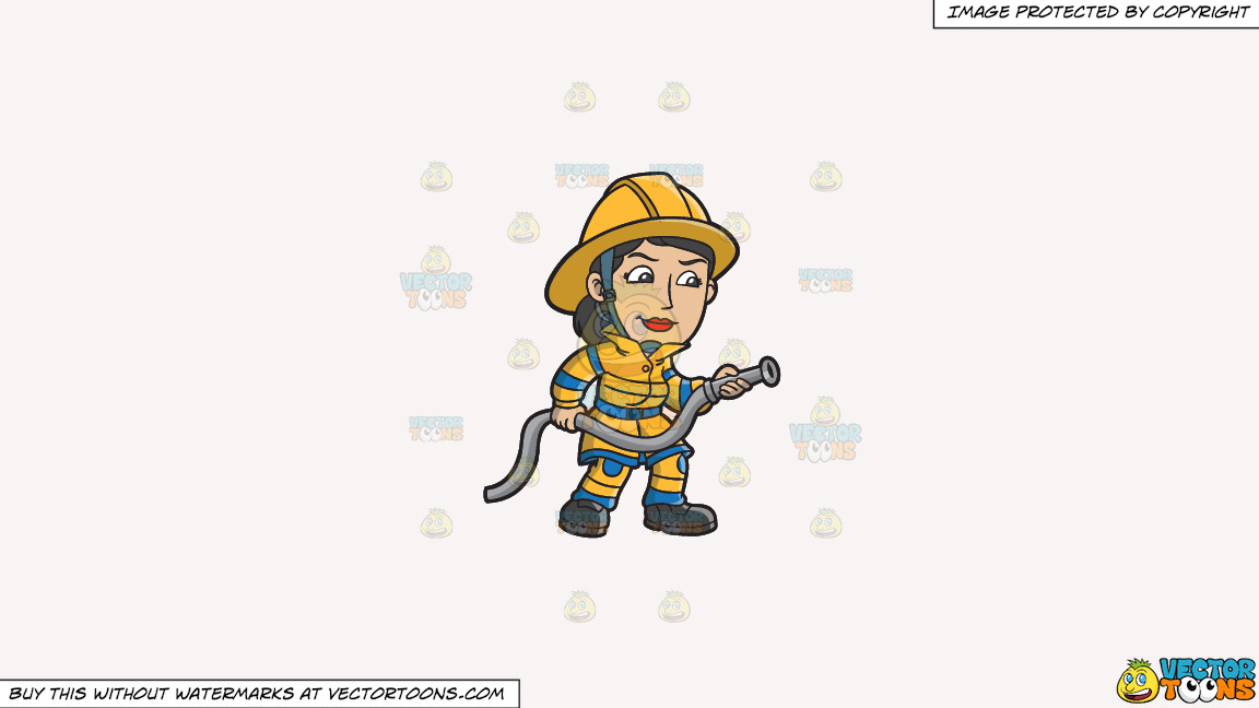 A Female Firefighter Holding A Hose On A Solid White Smoke F7f4f3 Background thumbnail