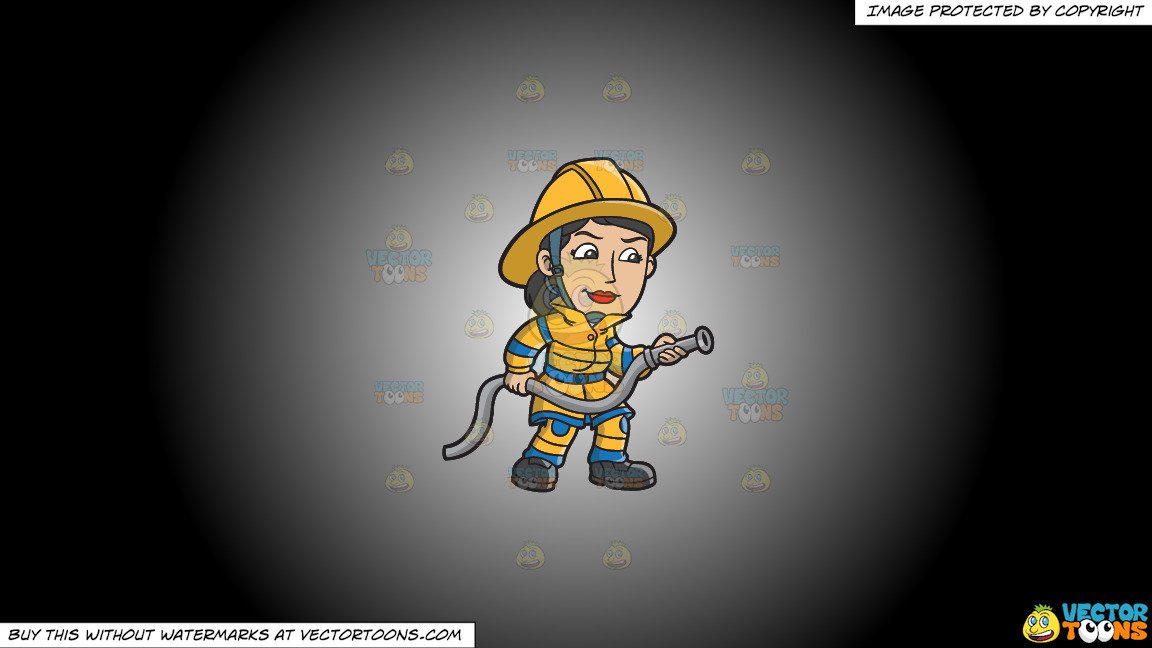 A Female Firefighter Holding A Hose On A White And Black Gradient Background thumbnail