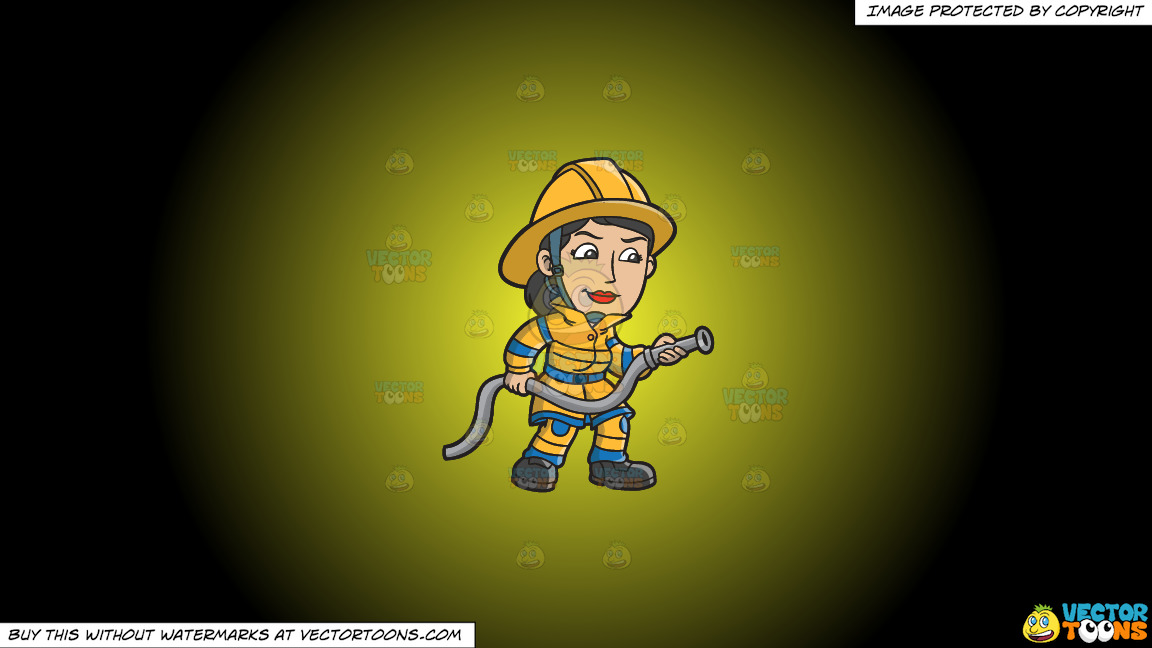 A Female Firefighter Holding A Hose On A Yellow And Black Gradient Background thumbnail