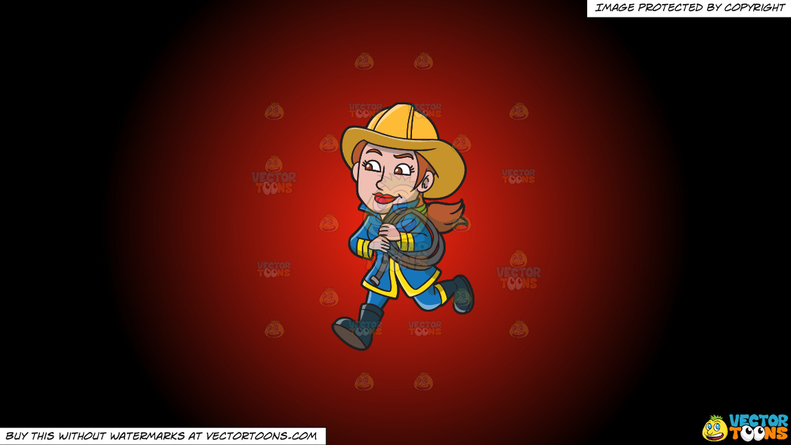 A Female Firefighter Running With A Fire Hose On A Red And Black Gradient Background thumbnail