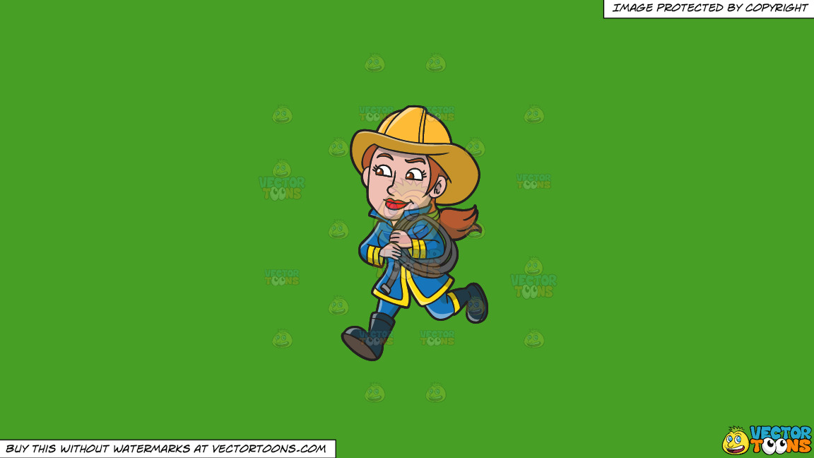 A Female Firefighter Running With A Fire Hose On A Solid Kelly Green 47a025 Background thumbnail