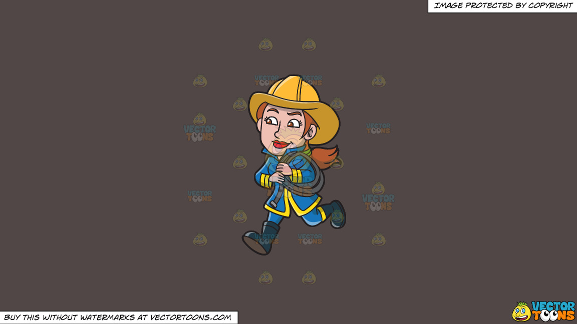 A Female Firefighter Running With A Fire Hose On A Solid Quartz 504746 Background thumbnail