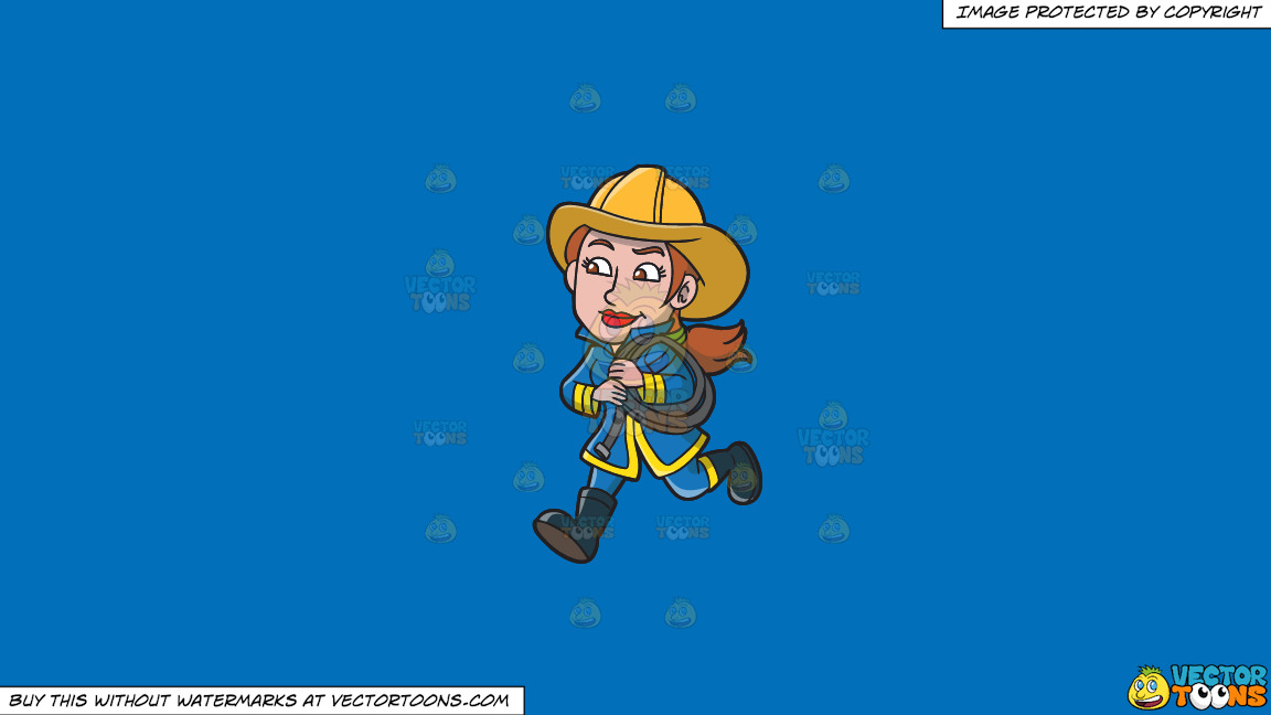 A Female Firefighter Running With A Fire Hose On A Solid Spanish Blue 016fb9 Background thumbnail