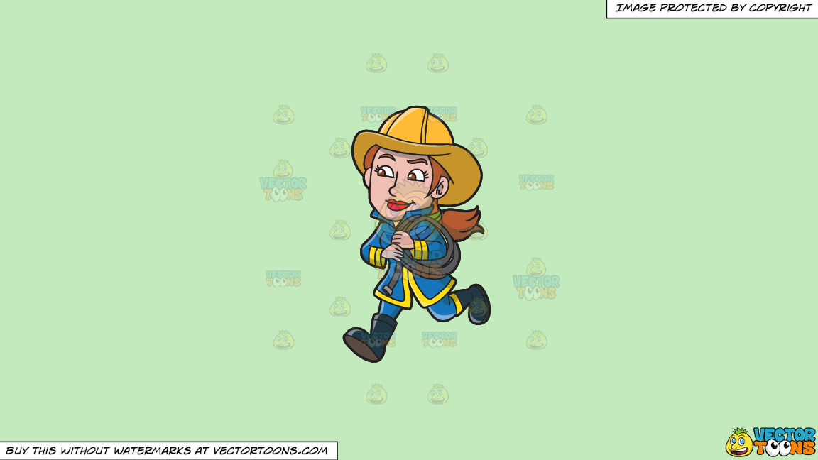 A Female Firefighter Running With A Fire Hose On A Solid Tea Green C2eabd Background thumbnail