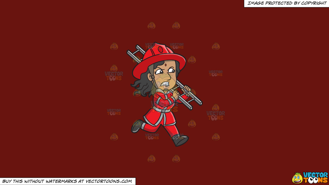A Female Firefighter Running With A Ladder On A Solid Maroon 69140e Background thumbnail