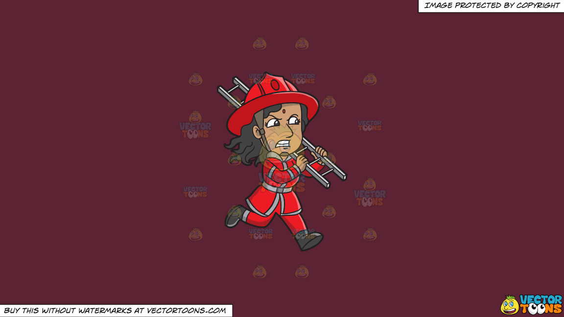 A Female Firefighter Running With A Ladder On A Solid Red Wine 5b2333 Background thumbnail