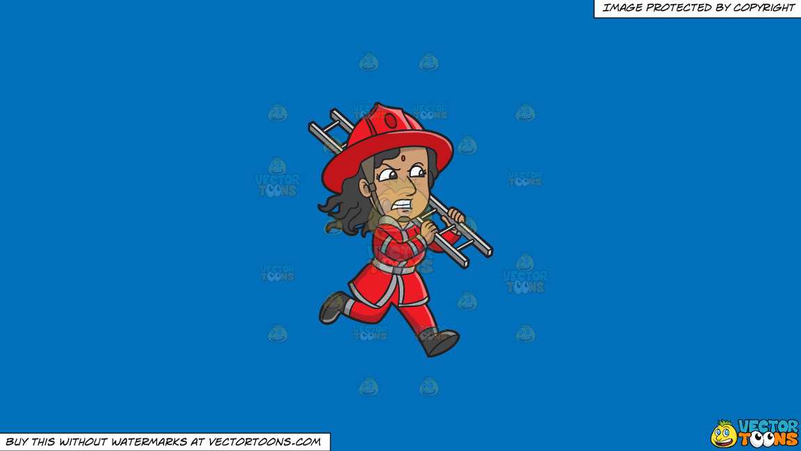 A Female Firefighter Running With A Ladder On A Solid Spanish Blue 016fb9 Background thumbnail