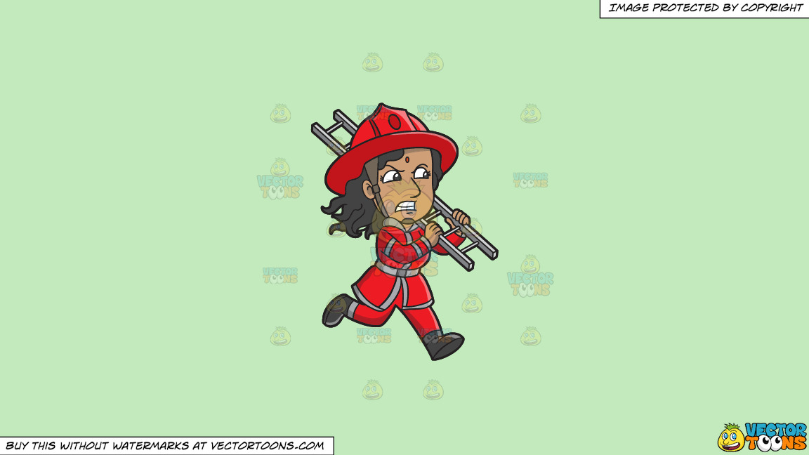 A Female Firefighter Running With A Ladder On A Solid Tea Green C2eabd Background thumbnail