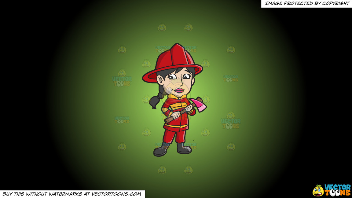 A Female Firefighter With An Ax On A Green And Black Gradient Background thumbnail