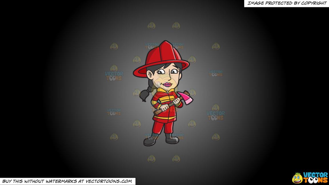 A Female Firefighter With An Ax On A Grey And Black Gradient Background thumbnail