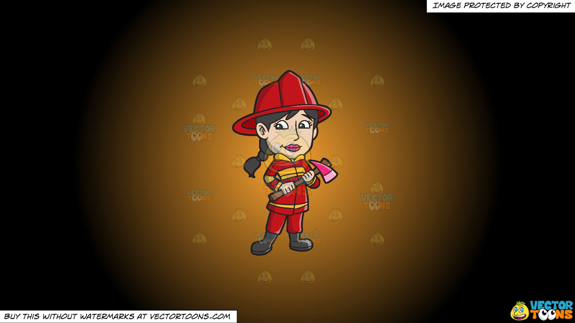 A Female Firefighter With An Ax On A Orange And Black Gradient Background thumbnail