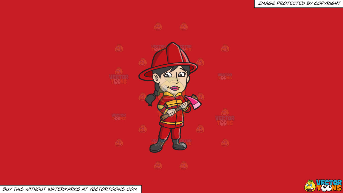 A Female Firefighter With An Ax On A Solid Fire Engine Red C81d25 Background thumbnail