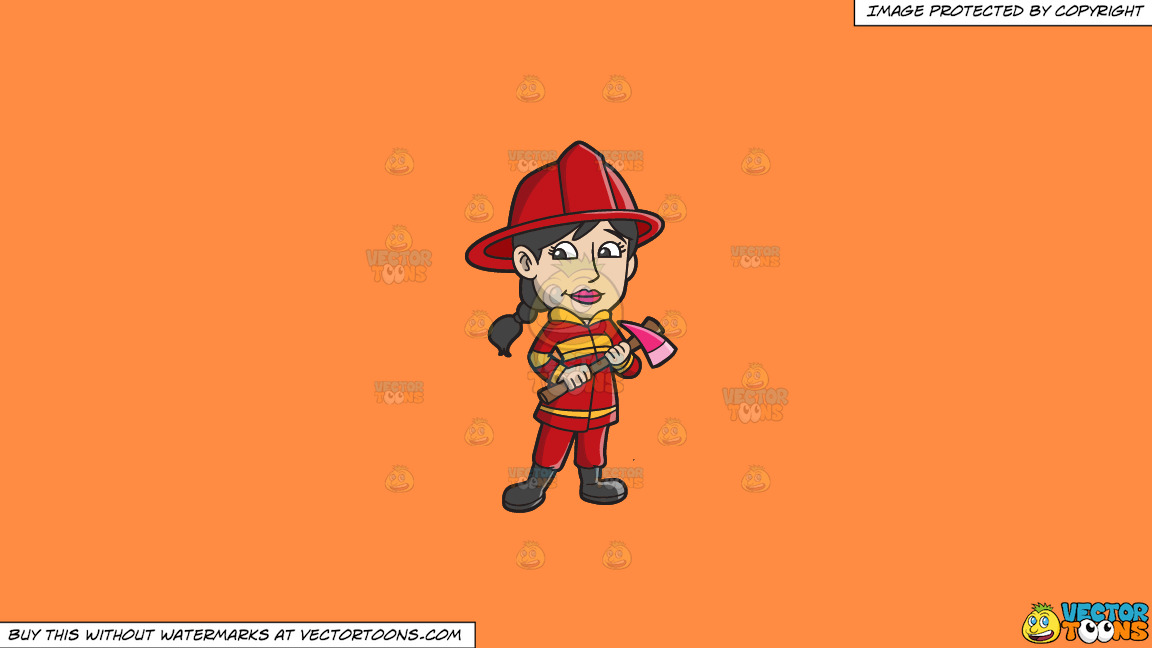 A Female Firefighter With An Ax On A Solid Mango Orange Ff8c42 Background thumbnail