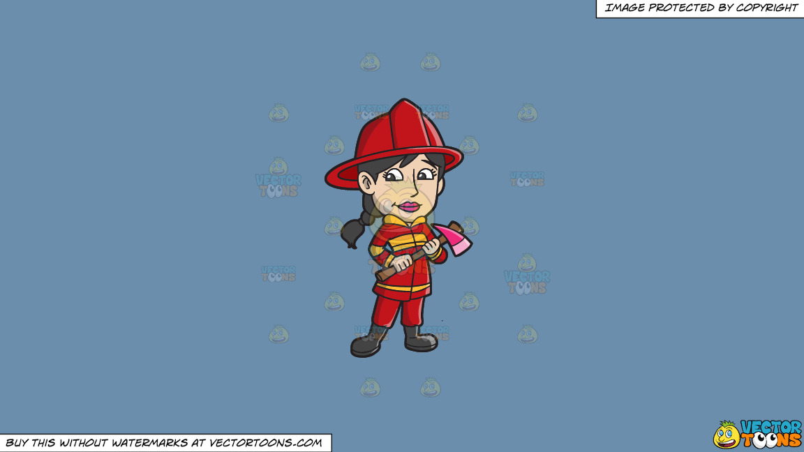 A Female Firefighter With An Ax On A Solid Shadow Blue 6c8ead Background thumbnail