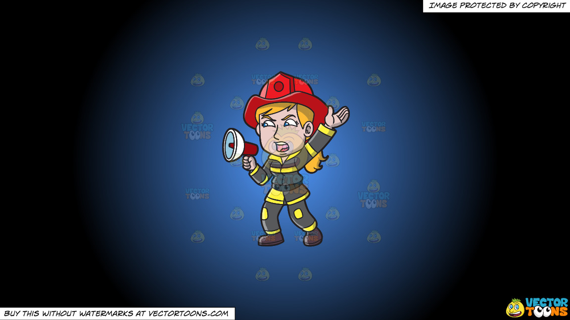 A Female Firefighter Yelling An Emergency Announcement On A Blue And Black Gradient Background thumbnail