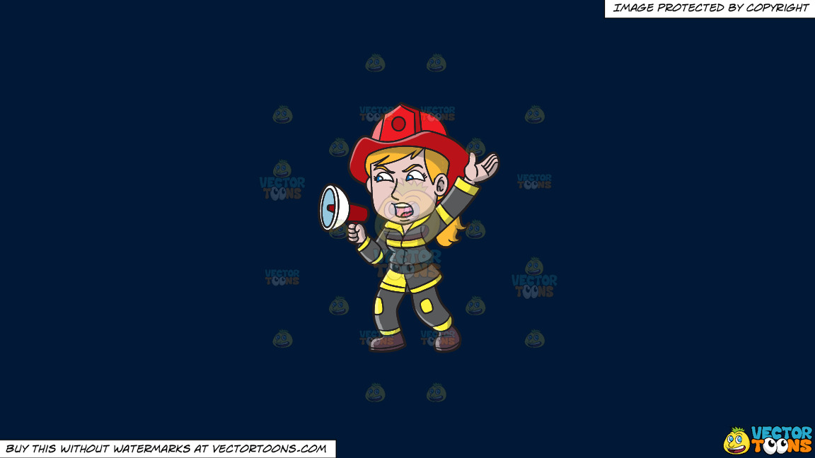 A Female Firefighter Yelling An Emergency Announcement On A Solid Dark Blue 011936 Background thumbnail