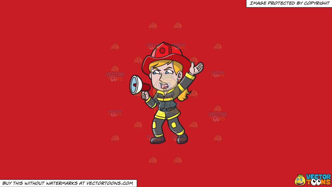 A Female Firefighter Yelling An Emergency Announcement On A Solid Fire Engine Red C81d25 Background thumbnail
