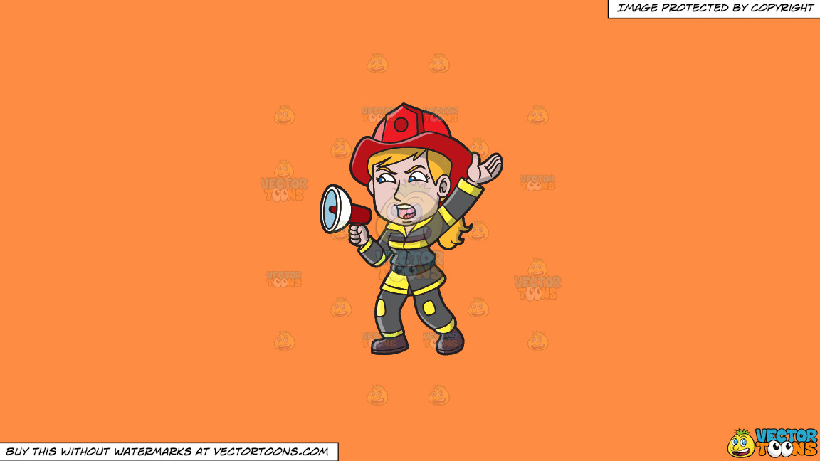 A Female Firefighter Yelling An Emergency Announcement On A Solid Mango Orange Ff8c42 Background thumbnail