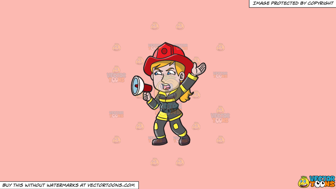 A Female Firefighter Yelling An Emergency Announcement On A Solid Melon Fcb9b2 Background thumbnail