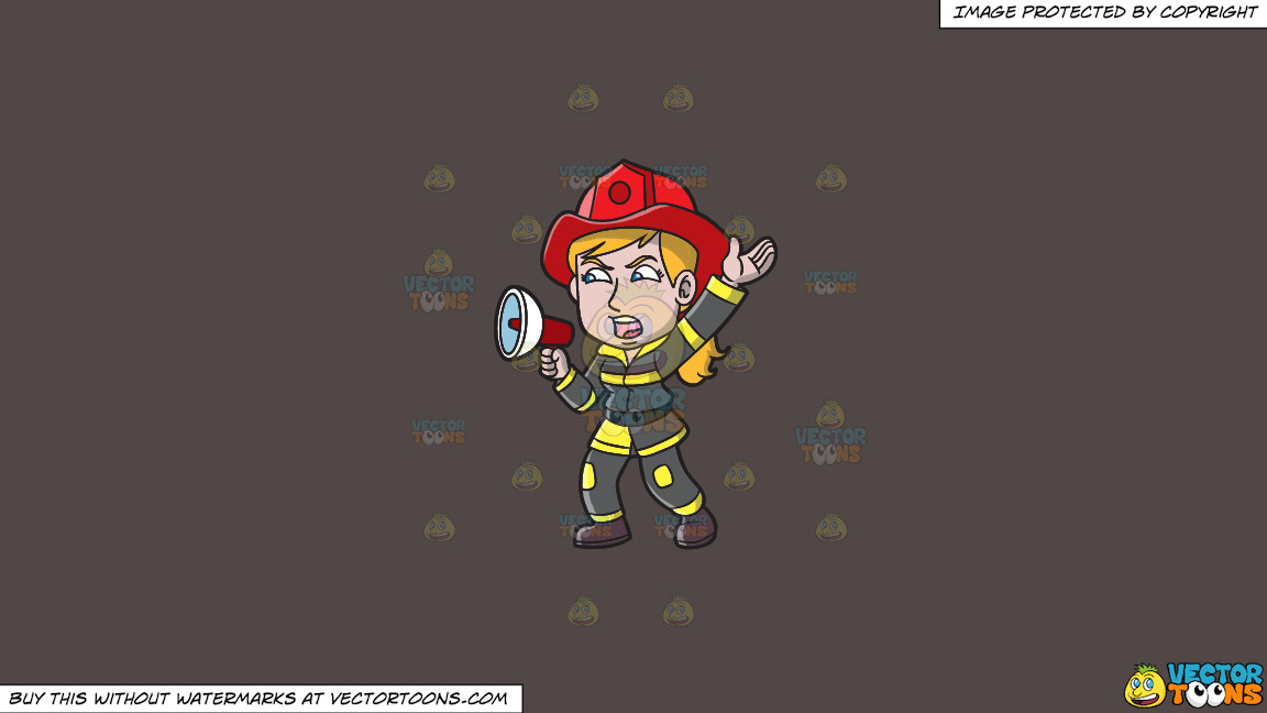 A Female Firefighter Yelling An Emergency Announcement On A Solid Quartz 504746 Background thumbnail