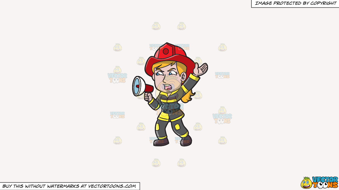A Female Firefighter Yelling An Emergency Announcement On A Solid White Smoke F7f4f3 Background thumbnail