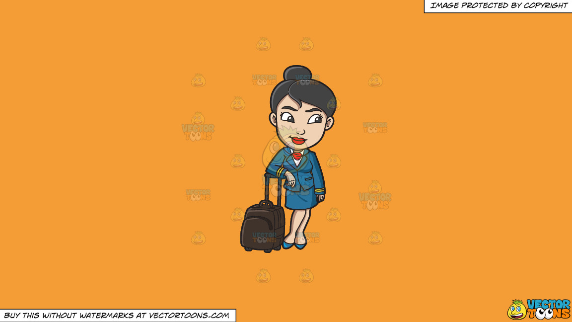 A Female Flight Attendant After Her Duty On A Solid Deep Saffron Gold F49d37 Background thumbnail