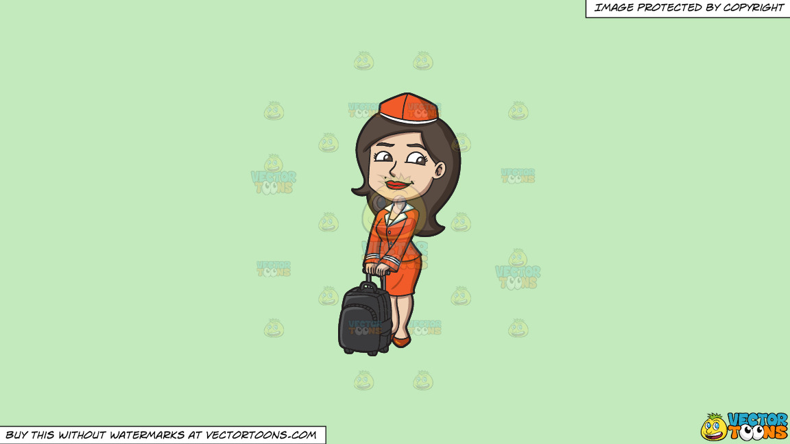 A Female Flight Attendant With Her Bag On A Solid Tea Green C2eabd Background thumbnail