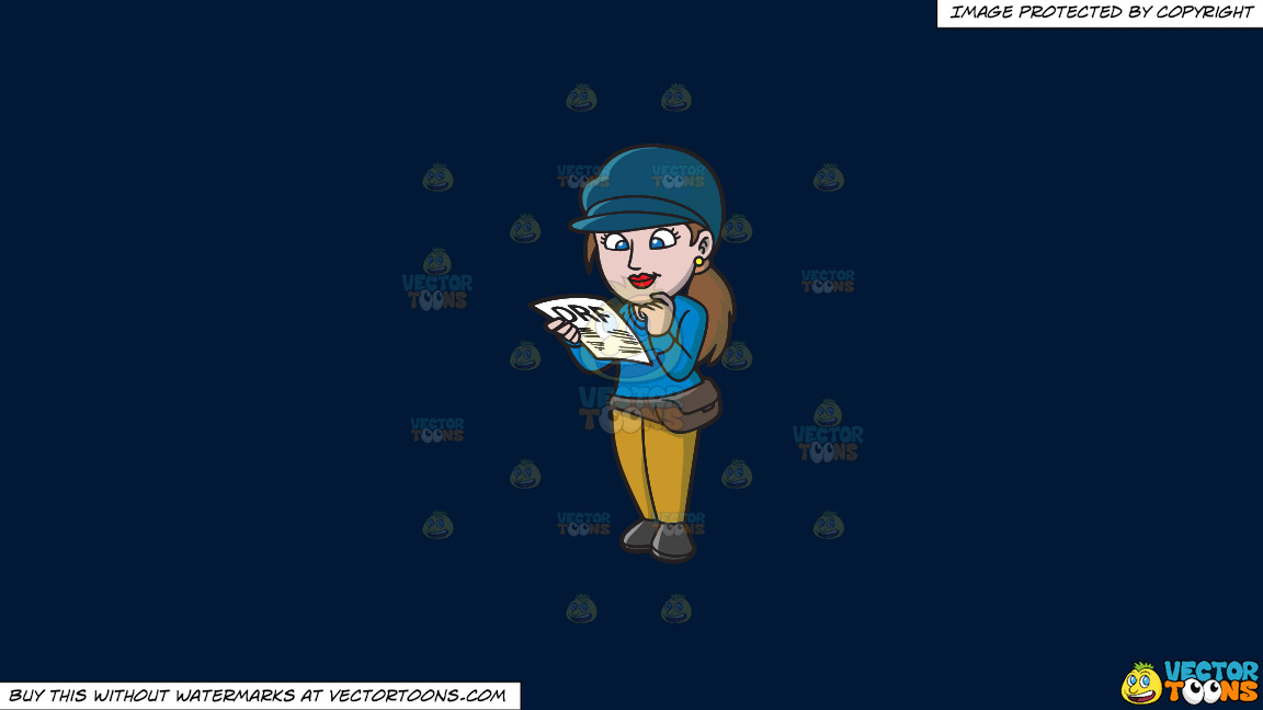 A Female Gambler Reading A Horse Racing Form On A Solid Dark Blue 011936 Background thumbnail