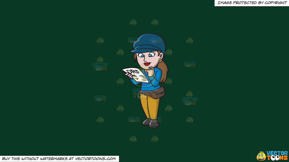 A Female Gambler Reading A Horse Racing Form On A Solid Dark Green 093824 Background thumbnail