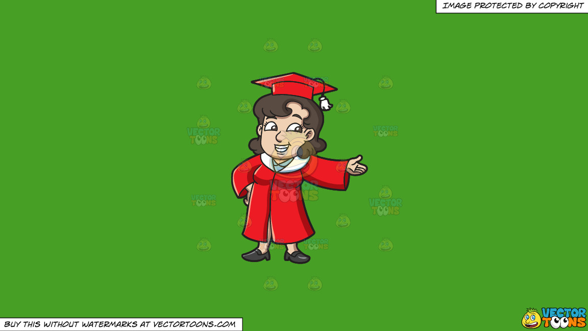 A Female Graduate Presenting Something To Her Peers On A Solid Kelly Green 47a025 Background thumbnail