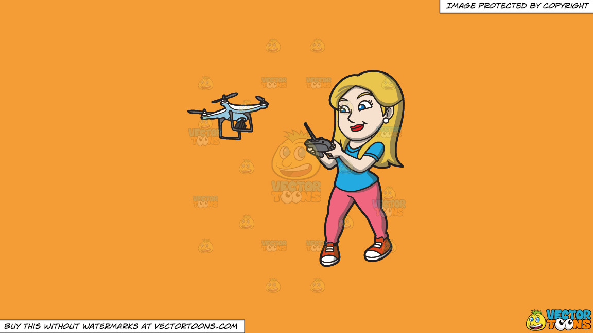 A Female Hobbyist Flying A Drone With A Remote On A Solid Deep Saffron Gold F49d37 Background thumbnail