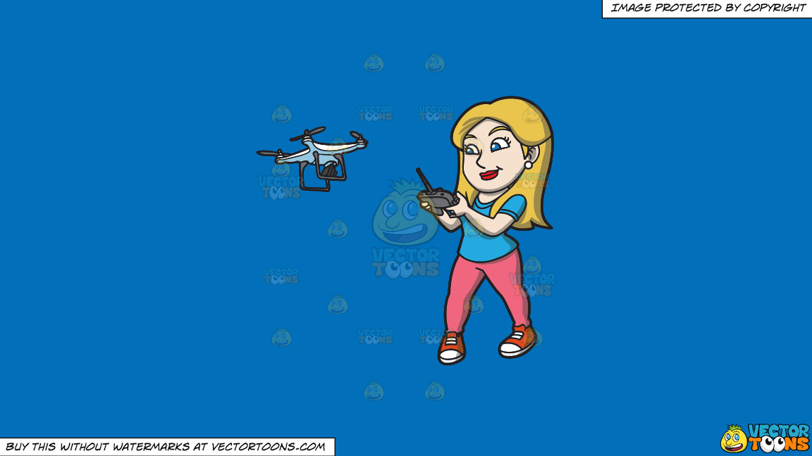 A Female Hobbyist Flying A Drone With A Remote On A Solid Spanish Blue 016fb9 Background thumbnail