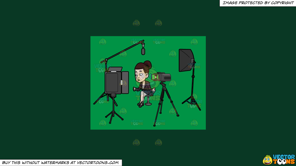 A Female Host Filming Her Latest Tv Show Episode In The Studio On A Solid Dark Green 093824 Background thumbnail