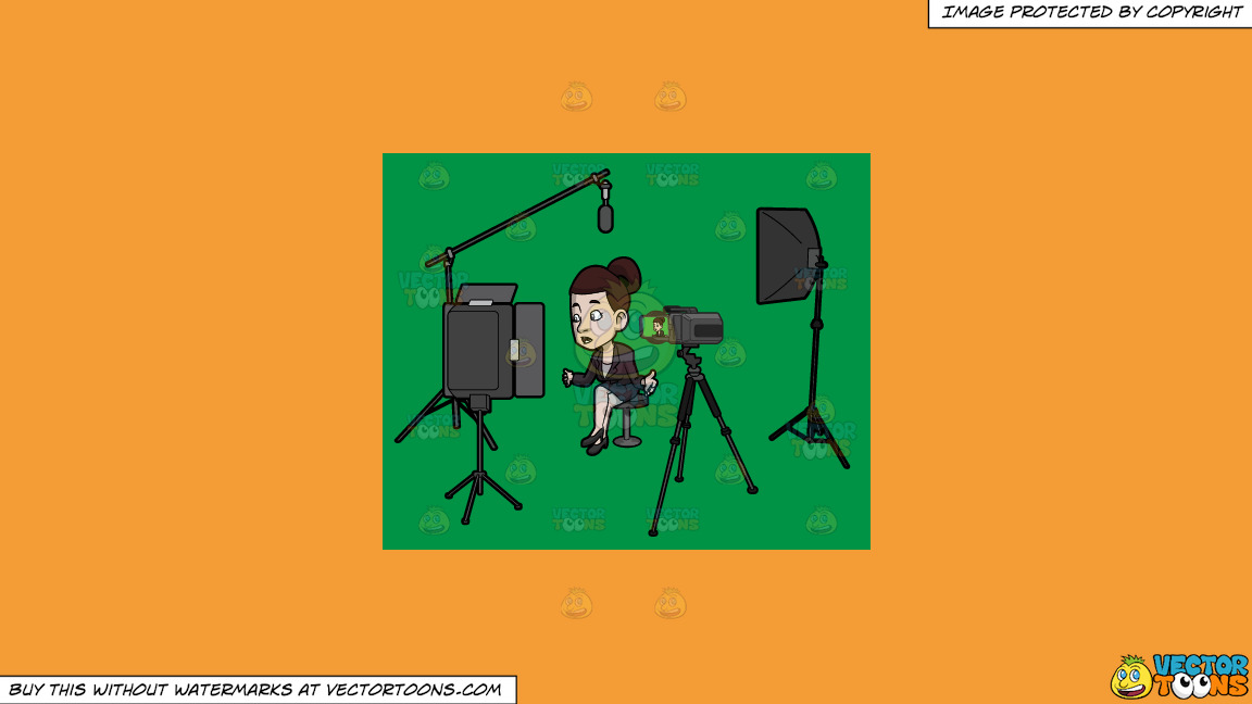 A Female Host Filming Her Latest Tv Show Episode In The Studio On A Solid Deep Saffron Gold F49d37 Background thumbnail