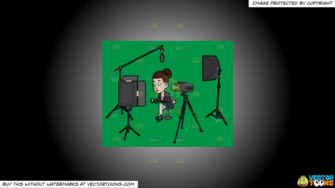 A Female Host Filming Her Latest Tv Show Episode In The Studio On A White And Black Gradient Background thumbnail