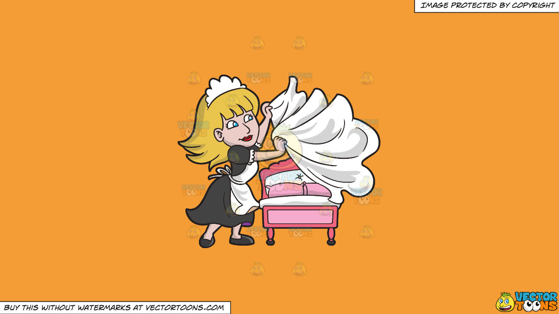 A Female Housekeeper Changing The Bed Sheets On A Solid Deep Saffron Gold F49d37 Background thumbnail