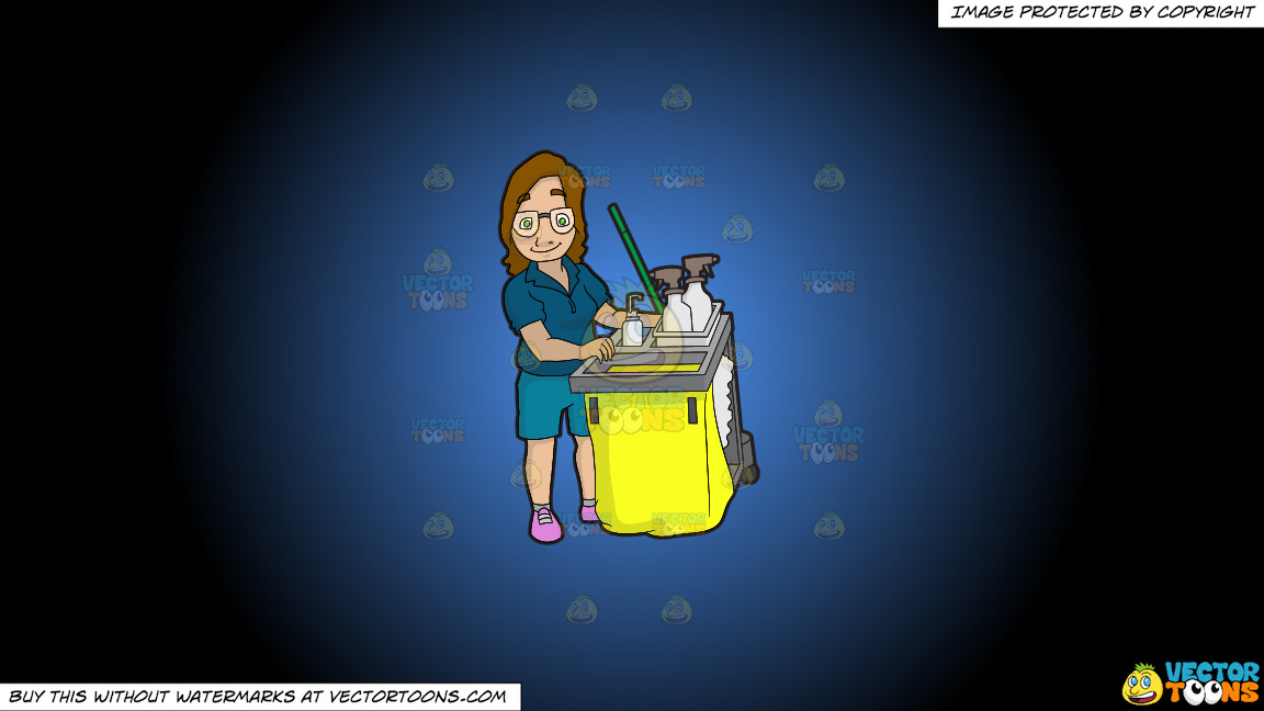 A Female Janitor Pushing Her Cleaning Cart On A Blue And Black Gradient Background thumbnail