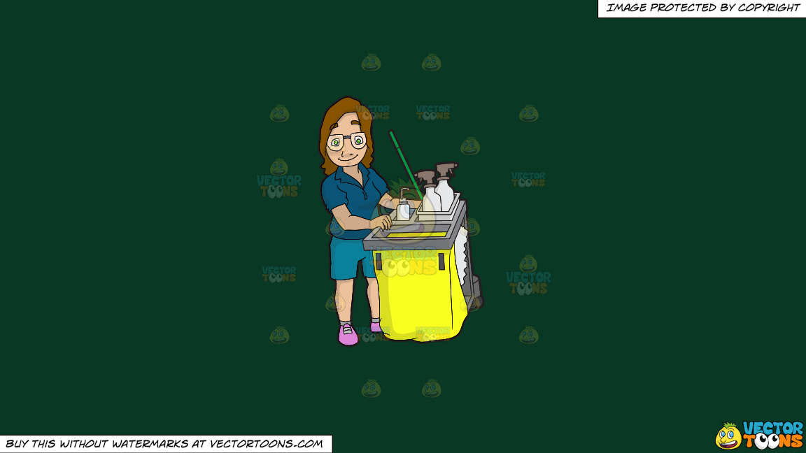 A Female Janitor Pushing Her Cleaning Cart On A Solid Dark Green 093824 Background thumbnail
