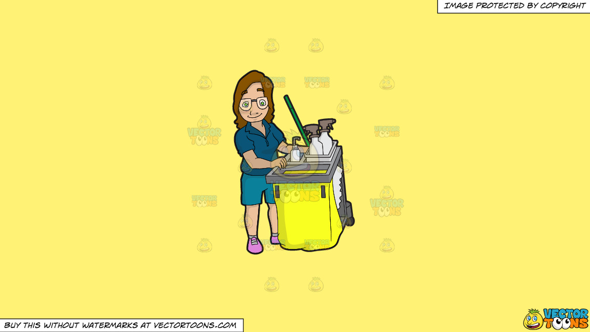A Female Janitor Pushing Her Cleaning Cart On A Solid Sunny Yellow Fff275 Background thumbnail