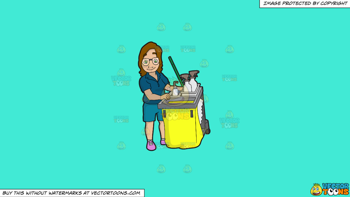 A Female Janitor Pushing Her Cleaning Cart On A Solid Turquiose 41ead4 Background thumbnail