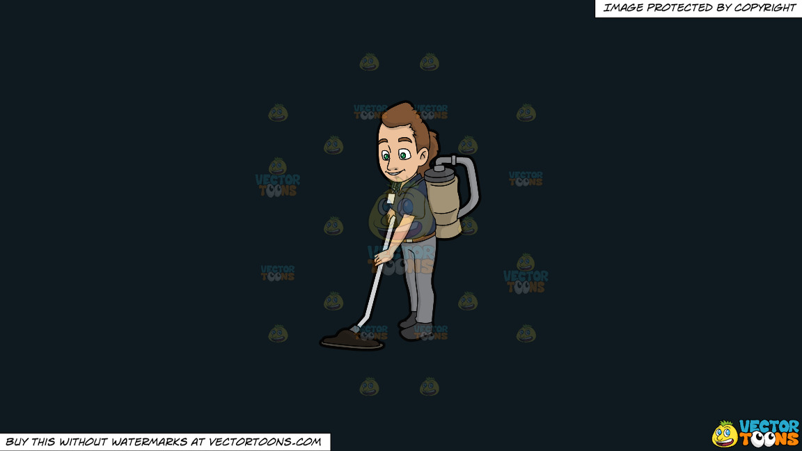 A Female Janitor Vacuuming The Floor On A Solid Off Black 0f1a20 Background thumbnail