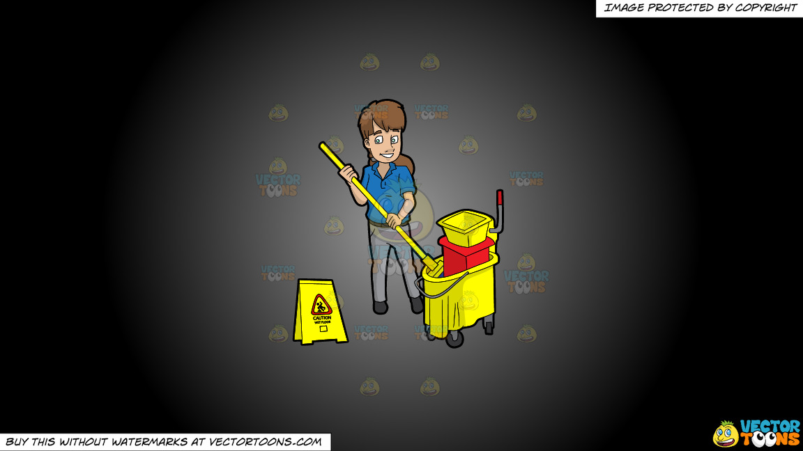 A Female Janitor Wringing Out A Mop On A Grey And Black Gradient Background thumbnail