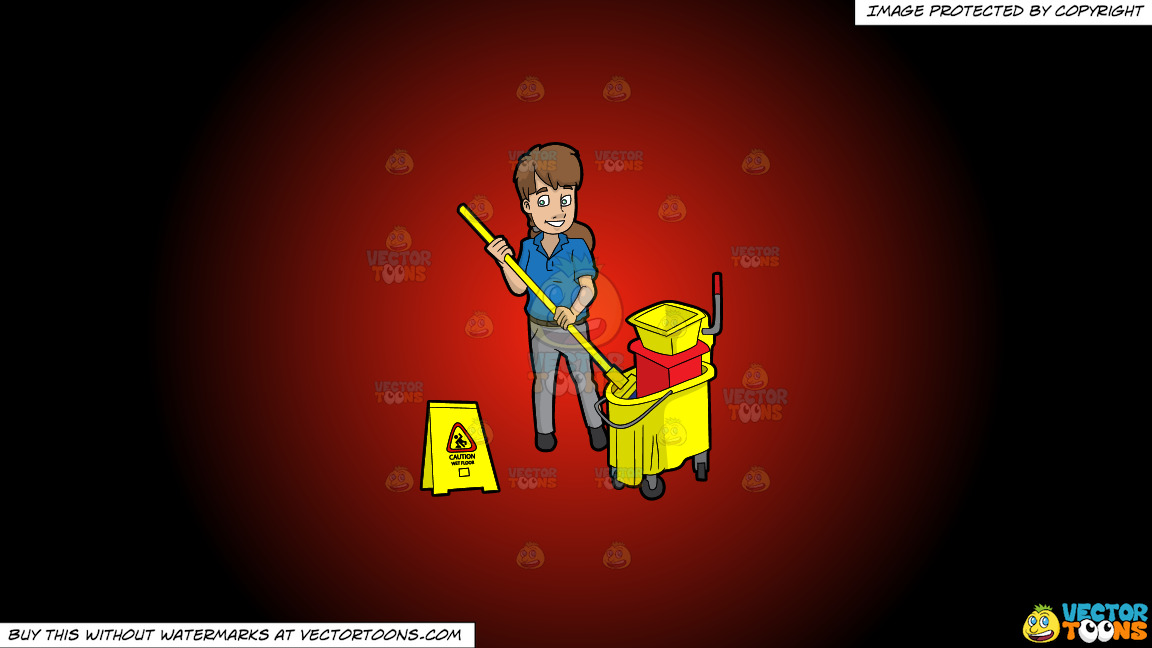 A Female Janitor Wringing Out A Mop On A Red And Black Gradient Background thumbnail